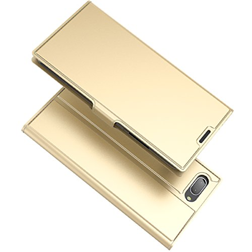 ChainPlus Blackberry KEY2 Wallet Case, Stylish Slim PU Leather Covers Stand and Card Holders Wallet Phone Cover Hear Protective Case for Blackberry KEY2 -Golden (Switch Light Custom)