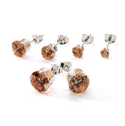 5 Pair Set of Sterling Silver Champagne Color CZ Stud Earrings Size3 4 5 6 7 mm