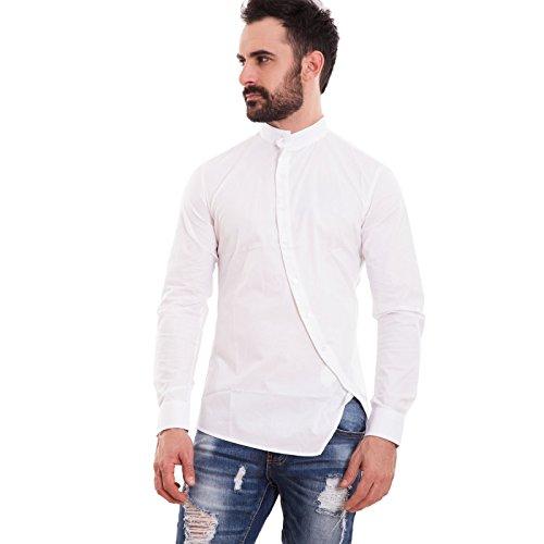 Toocool - camicia uomo slim fit coreana bottoni trasversali obliqui aderente nuova 150233 [xxl,bianco]