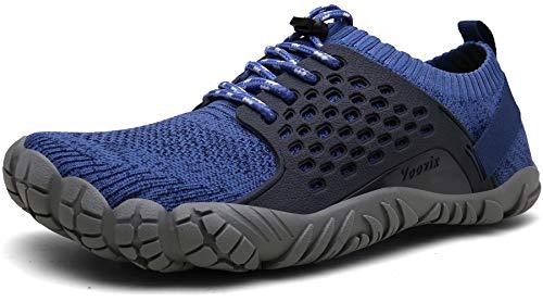 Voovix Barfußschuhe Herren Damen Outdoor Fitnessschuhe Traillaufschuhe Atmungsaktive Minimalistische Laufschuhe(Blau,46) (Grün Running Schuhe)