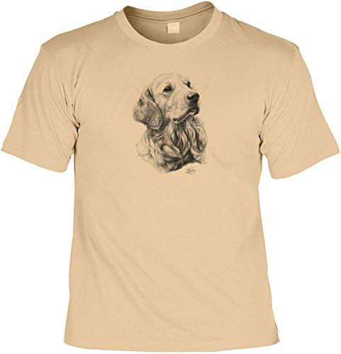 Hunde Shirt/ T-Shirt mit Dog Aufdruck: Golden Retriever - tolles Tier-Motiv für Hundefreunde Sand
