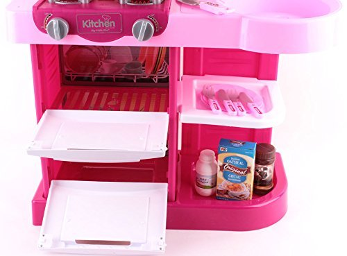 role play kitchen accessories deao kc2 p pink kitchen playset with 30 accessories 4855