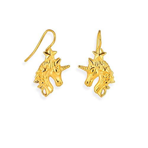 Drachenfels orecchini a forma di unicorno, in vero argento, collezione Sternenglanz & Schattentanzen, incantevoli orecchini con collo di cigno in argento sterling 925, placcato oro