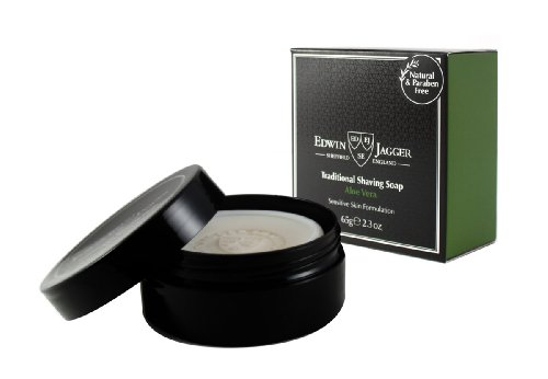 Edwin Jagger 99.9% Natural Shaving Soap (Aloe Vera) In 65G Travel Tub Ssavt