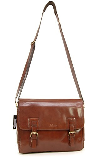 Borsa Messenger per portatile Ashwood in pelle - Jasper Castagna Brown