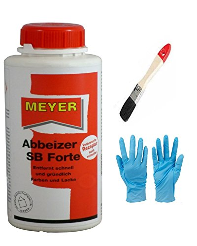 Abbeizer Lackentferner Entlacker Abbeizmittel GEL inkl. Pinsel von E-Com24 und Nitrilhandschuhe (Abbeizer 0,75 Liter)