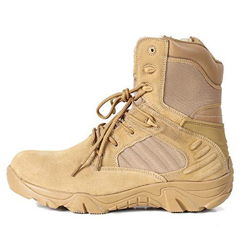 Delta Combat Boots Desert Sicherheitsstiefel High-Top Seitlicher Reißverschluss Outdoor Wanderschuhe Military Army Tactical Sports Camping Schuhe,Yellow,40 -