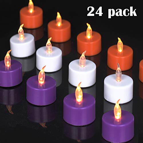 YIWER Lot de 24 LED Bougies CR2032 piles Bougie chauffe-plat sans flamme claire vacillante100+heures de lumière électrique,Décorez des Halloween,Coquille de trois couleurs(Lumière jaune chaude 24pcs)
