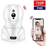 SMONET Pet Camera HD WiFi IP Camera, Wireless IP Camera Pet/Cat/Baby Camera Remote Monitor with Two-Way Audio,Motion Detection,Night Vision,PTZ,Data Safe for Home Surveillance Security Camera