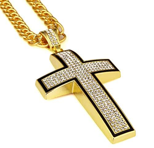 L&H Men Es Curved Cross Halskette Pendant Hip Hop Hiphop Set Zircon Ornament,Gold