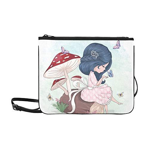WYYWCY Niedliche Mädchen Schmetterling Tshirt Graphiccartoon Charakter Vorlage Benutzerdefinierte hochwertige Nylon Schlanke Handtasche Umhängetasche Umhängetasche -