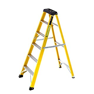 TB Davies Trade 6 Tread Electrician Fibreglass Swingback Step Ladders. Alloy Treads - EN131 Step, Non Conductive Stiles, Inc. Integrated Tool Tray (B001EX9OE0) | Amazon Products