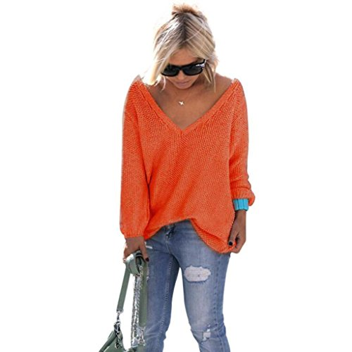 Damen Pullover, GJKK Damen Lange Hülse V-Ausschnitt Strickpullover Lose Strickpulli Oberteil Strickwaren (Orange, L) (Oversized Knit Cardigan)