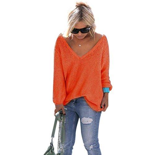 Damen Pullover, GJKK Damen Lange Hülse V-Ausschnitt Strickpullover Lose Strickpulli Oberteil Strickwaren (Orange, L) (Cardigan Knit Oversized)