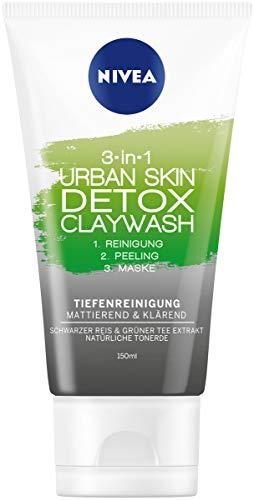 NIVEA 3IN1 Urban Skin Detox Claywash im 3er Pack (3 x 150 ml), Gesichtsreinigung mit Peeling & Gesichtsmaske, tiefenreinigende und mattierende  Gesichtspflege -