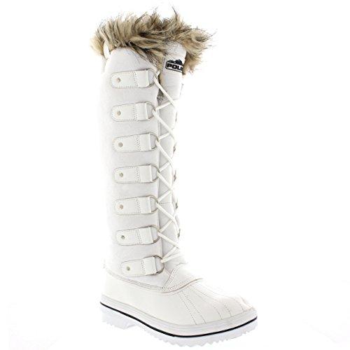 Femmes Fourrure Brassard Caoutchouc Hauteur Du Genou Chaussure Bottes Blanc Suède
