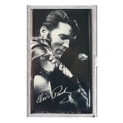 Half Moon Leder (Elvis Presley 'Black Suit', Gebürstetes Metall, Leder, Mit Visitenkartenhalter)