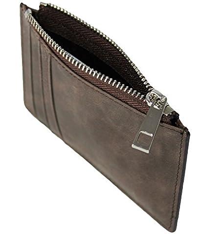 Porte-monnaie en microfibre en cuir, minimaliste, mince : porte-cartes pour les gens intelligents et modernes - GlimOrb (R) (coffee)