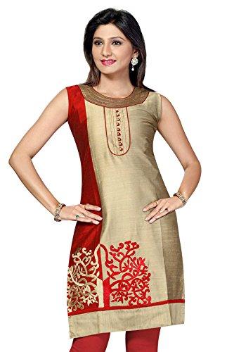 ALC Creations Women's Silk A-Line Kurti(AL0325_Beige_XXL)