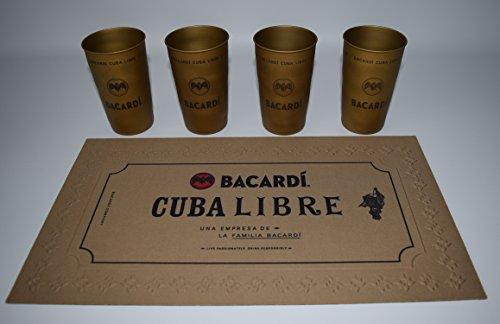 Bacardi Cuba Libre Set / 4 Metallbecher + 1 Cuba Libre Barmatte