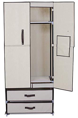 caoxianshuntong Stoff Kleiderschrank Faltschrank Campingschrank mit 2 Schubladen CCC0002