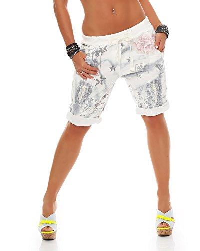 Zarmexx Damen Bermuda Shorts Baggy Hose Boyfriend Freizeithose Haremshose Sporthose mit Blumendruck Baumwolle One Size (Einheitsgröße: Gr. 36-40, grau)