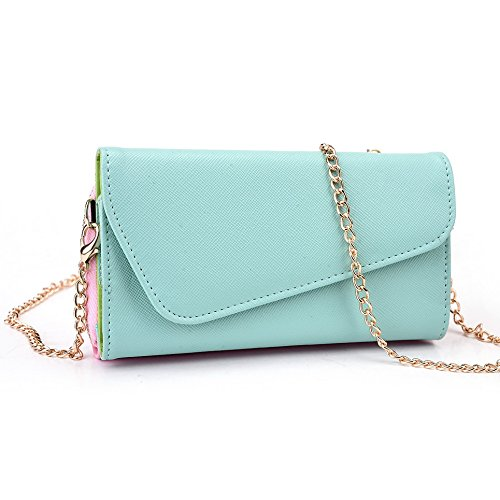 Kroo d'embrayage portefeuille avec bandoulière et Wristlet pour Sony Xperia T3 mehrfarbig - Red and Green mehrfarbig - Green and Pink
