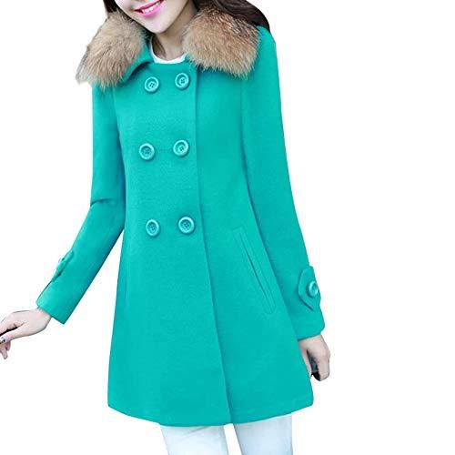 feiXIANG Damen Revers Parka Dünner Mantel Lang Trenchcoat Slim Strickjacke Outwear Warme Lässige Outwear Jacke Winter Frühjahr (Grün,M)