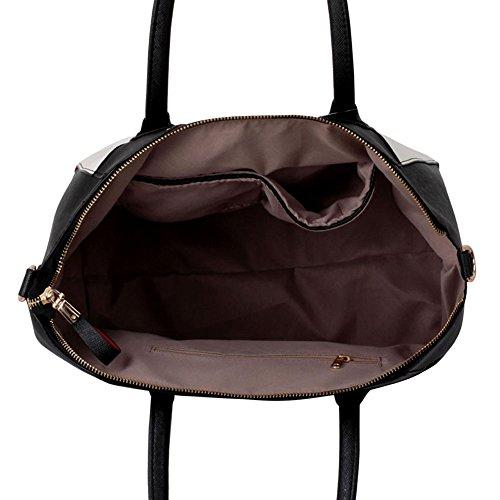 TrendStar Damen Entwerfer Handtaschen Damen Berühmtheit Stil Imitat Leder Taschen Schwarz/Weiß/Orange