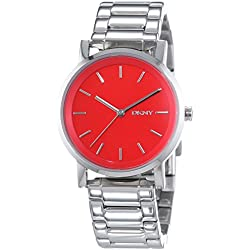 DKNY Women's Quartz Watch with White Dial Analogue Display and Silver Stainless Steel NY2182