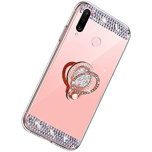 Herbests Kompatibel mit Huawei P30 Lite Hülle Glitzer Diamant Bling Strass Glänzend Kristall Handyhülle Spiegel Hülle Mirror TPU Silikon Case Handytasche mit Ring Ständer Halter,Rose Gold