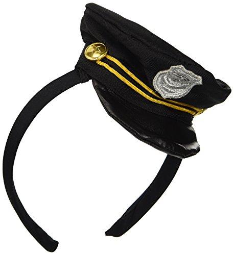 Smiffys, Damen Mini Polizei Hut auf Haarreif, One Size, Schwarz, (Polizei Kostüme Hut)