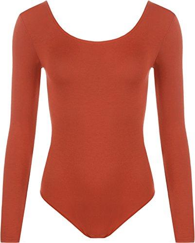 WearAll - Damen body elastisch langarm Bodysuit Top - Rost - 36-38 (Orange Rock Anzug)