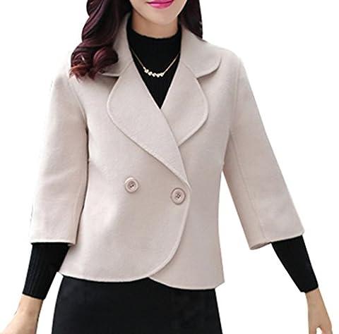 Yasong Women Short Double-Breasted Wool Jacket Cropped Coat Cape Coat Peacoat Beige UK 12