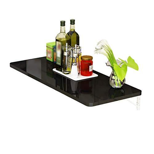 Wghz Schwarzer Klapp-Esstisch mit Klavierfarbe zur Wandmontage für die Küche Umweltfreundliches Blatt, stark belastbar, langlebig (Größe: 80 x 50 cm) - Klapp-esstisch