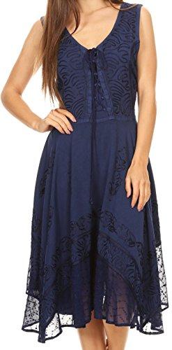 Sakkas 17321 - Magdilena Stonewashed Korsett Front Besticktes Kleid - Marine - S / (Renaissance Korsett Kleid)