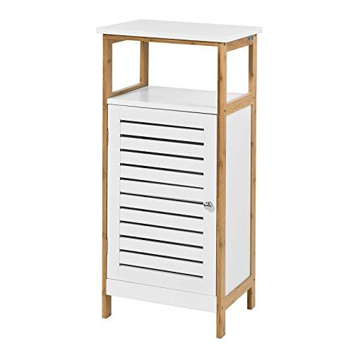 SoBuy® Columna de baño baja, Armario para baño con una puerta y un estante,armario, FRG167-WN, ES