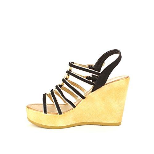 Cendriyon, Compensée Multibrides SIXTIANA Mode Chaussures Femme Noir