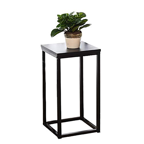 Gesamt-minuten Iron (Blumenständer- Schwarz Mini Flower Pot Holder Pflanze Display Stand für Outdoor Indoor Garden & Patio (Eisen + E1 Platte) (Color : Black, Size : High 60cm))