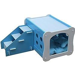 Haustierfreundliches Double Deck Kennel Duplex Hundehaus Pet Villa Kennel Zimmer Hundehaus Pet Bett Katzenhaus (Farbe : Blau)