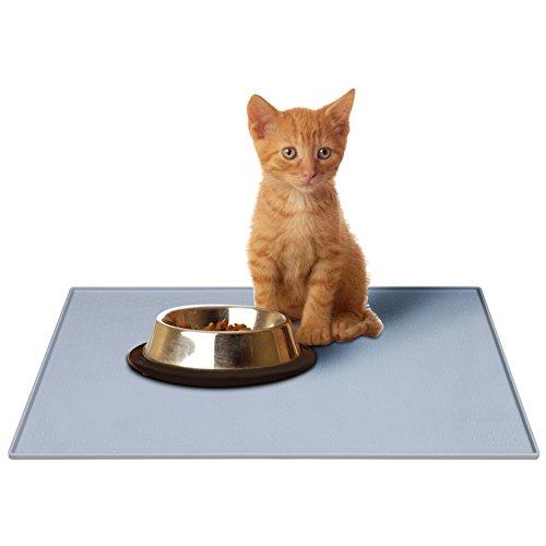 Parsion Napfunterlage Hund, Katzen-fressnäpfe Futtermatte für Haustier, Silikon Wasserdicht Anti-Rutsch Fda Tiernahrung-Matte Katzen-Zubehör Fuss-Matte (48 x 1 x 30 cm) (Grau)