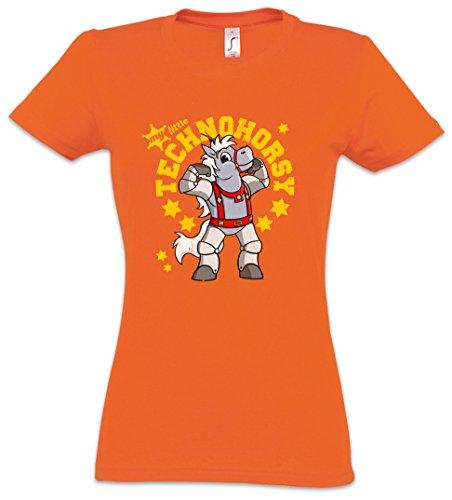 "My Little TECHNOHORSY ""J"" Damen T-Shirt – Horse Pferd Techno Elektro Electro Marshall 3030 Thirty-Thirty Thirty Bravestarr 30-30 Hex Tex Texas Größen S – 3XL (Texas A&m-jersey-material)"