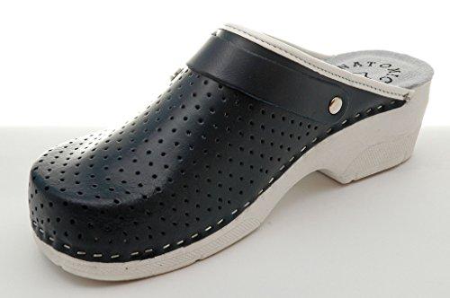 Dr Punto Rosso Bril B2 Comfort Scarpe Scarpe In Pelle Pantolette Zoccoli Da Donna Blu
