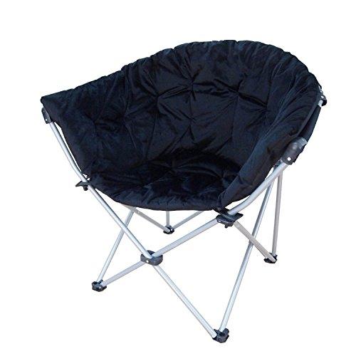 Poliestere pieghevole oversize imbottito luna rotondo piattino Club sedia pieghevole con telaio in (Leather Club Chair)