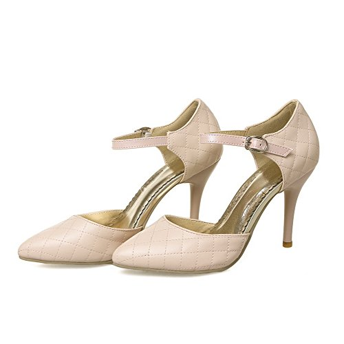 Stylet Légeres Pu Unie Cuir Femme Rose Tire Couleur VogueZone009 Chaussures Pointu qfS1Cw