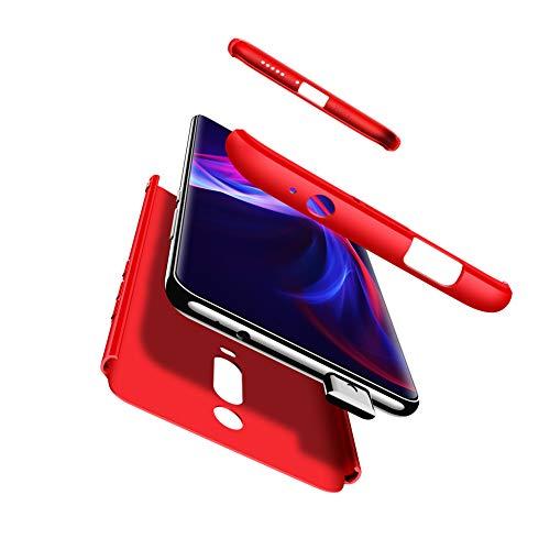 Compatible Xiaomi Redmi K20/K20 Pro Funda(2018)Carcasa 360° ultra fina Protectora cojín+Vidrio Templado Pantalla Protector,3 in 1 PC Hard Caja Caso Skin Case Cover Carcasa parai Redmi K20 Rojo