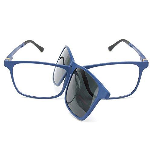 2 en 1 Clip magnético en gafas de sol para gafas graduadas Hombres Marco flexible ULTEM gafas polarizadas en gafas para mujer