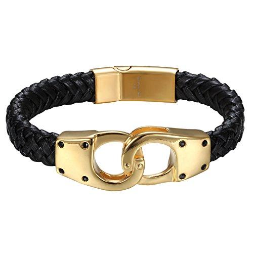 , Geflochten Punk Rock Handschellen Handcuffs Anhänger Lederarmband Armreif Lederband mit Magnet Verschluss, Schwarz Gold (Handschellen Halloween)