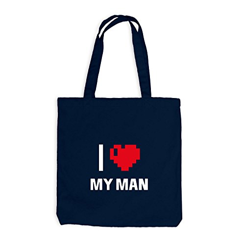 Jutebeutel - I Love My Man - Traummann Herz Heart Pixel Navy