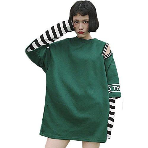 Frauen Streifen Zwei falsche Stücke Lange Ärmel t - Shirt Kawaii Klamotten (Green) (Harajuku Kawaii)